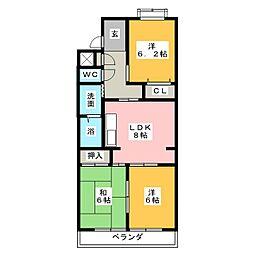 コンフォーレ岡田[3階]の間取り