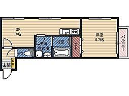 エス・フィールド野江 2階1DKの間取り