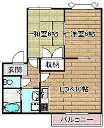 大阪府高槻市真上町6丁目の賃貸アパートの間取り