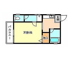南海高野線 河内長野駅 徒歩10分の賃貸アパート 2階1Kの間取り