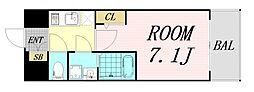エスプレイス大阪リバーテラス 11階1Kの間取り