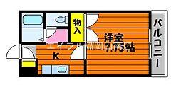 JR瀬戸大橋線 茶屋町駅 徒歩37分の賃貸アパート 1階1Kの間取り