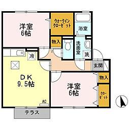 ハピネス山田 B[B102号室]の間取り