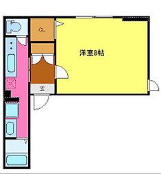 シャーメゾン真栄 2階1Kの間取り