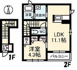 広島県広島市佐伯区美の里1丁目の賃貸アパートの間取り