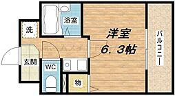 大阪府大阪市中央区上町1丁目の賃貸マンションの間取り