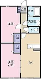 静岡県磐田市福田の賃貸アパートの間取り