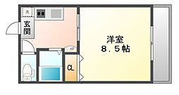岡山県岡山市北区下中野の賃貸マンションの間取り