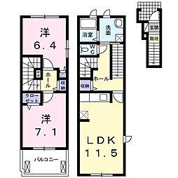 愛知県名古屋市緑区徳重5丁目の賃貸アパートの間取り
