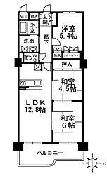 朝日プラザアーバネート奈良[3F号室]の間取り