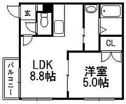 北海道札幌市豊平区平岸三条4の賃貸マンションの間取り