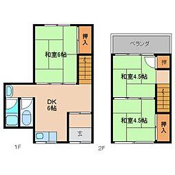 奈良県香芝市下田東3丁目の賃貸アパートの間取り