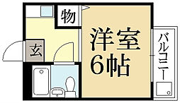 京都府京都市左京区田中飛鳥井町の賃貸アパートの間取り