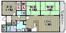 ヒュースー丘弐番館[206号室]の間取り