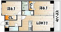 ニューシティアパートメンツ南小倉II[7階]の間取り