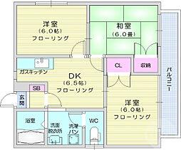 コーポドリームスC棟 2階3DKの間取り