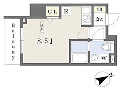都営新宿線 本八幡駅 徒歩1分の賃貸マンション 7階ワンルームの間取り