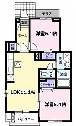 愛知県名古屋市瑞穂区中根町1丁目の賃貸アパートの間取り