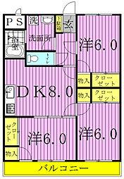 セナリオコート増尾イーストA・B[2-203B号室]の間取り