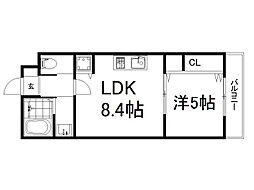 京阪本線 龍谷大前深草駅 徒歩7分の賃貸マンション 2階1LDKの間取り