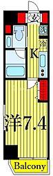 One ROOF Residence Kiba WEST 1階1Kの間取り