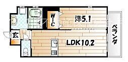 福岡県北九州市戸畑区中本町の賃貸マンションの間取り