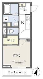 千葉寺マンション新築工事 1階1Kの間取り