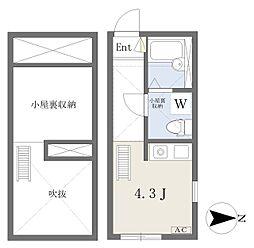 アルモ平安 1階ワンルームの間取り