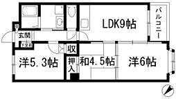 ボナール中西[3階]の間取り