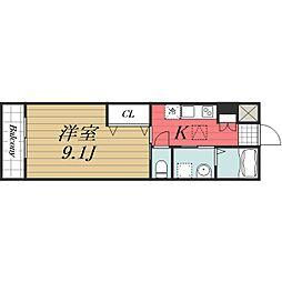 JR成田線 成田駅 徒歩20分の賃貸マンション 1階1Kの間取り