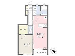 メゾン プリムヴェール(Maison Primevere) 1階1LDKの間取り