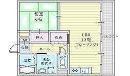 江坂ロイヤルハイツ 1階1LDKの間取り