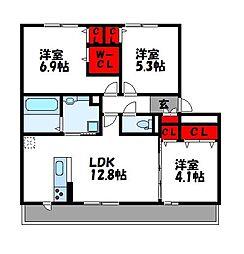 D-room阿恵IIA棟[2階]の間取り
