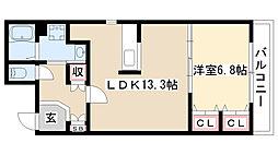 愛知県尾張旭市桜ヶ丘町1丁目の賃貸アパートの間取り