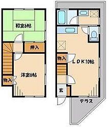 埼玉県越谷市大字花田の賃貸アパートの間取り