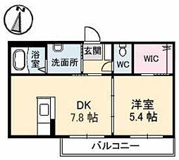 グランラシュレ B棟 2階1DKの間取り