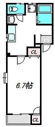 京阪本線 滝井駅 徒歩1分の賃貸マンション 2階1DKの間取り