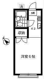 東京都目黒区目黒3丁目の賃貸アパートの間取り