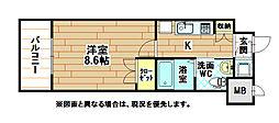 福岡県北九州市小倉北区黄金1の賃貸マンションの間取り
