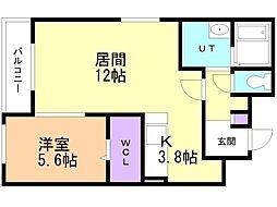 ラ シャルマ 3階1LDKの間取り