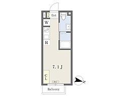 ステップハウス西落合 1階ワンルームの間取り