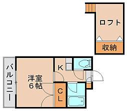 福岡県福岡市博多区諸岡5丁目の賃貸アパートの間取り