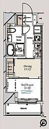 ミュプレ月島 2階1DKの間取り