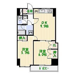 グランドマンション金子[4階]の間取り
