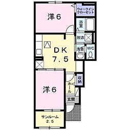 JR鹿児島本線 西牟田駅 5.2kmの賃貸アパート 1階2DKの間取り