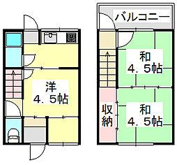 三輪アパート 西棟[1階]の間取り