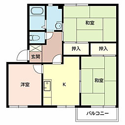 兵庫県小野市喜多町の賃貸アパートの間取り