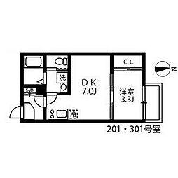 名古屋市営東山線 中村公園駅 徒歩7分の賃貸アパート 2階1DKの間取り