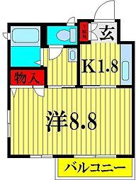 埼玉県越谷市大沢1丁目の賃貸アパートの間取り