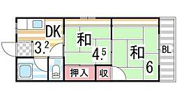 シティーハイム北田[2階]の間取り